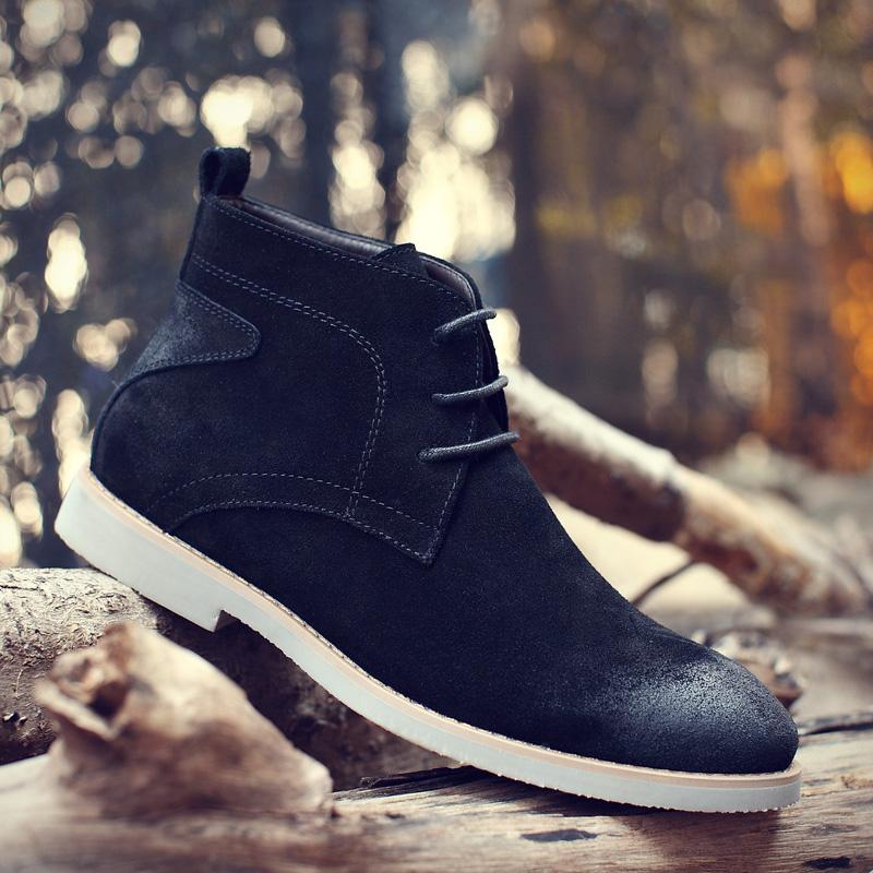 马丁靴男士秋季英伦中高帮鞋美式复古短靴韩版潮加绒咔叽工装靴