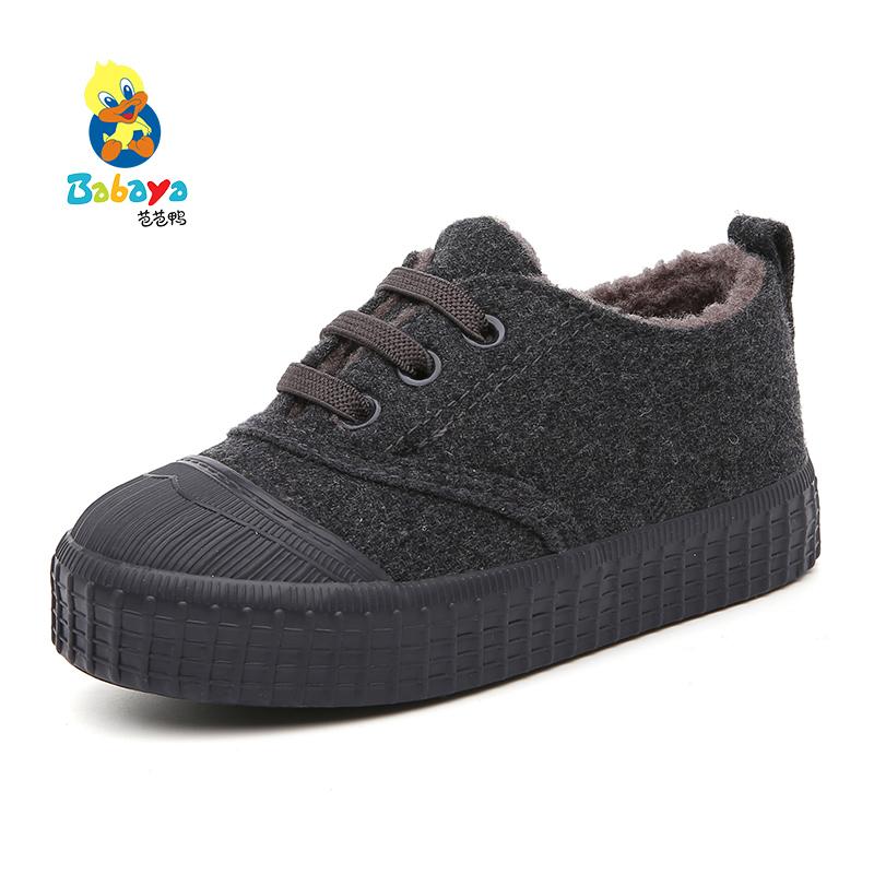 芭芭鴨兒童棉鞋2016 低幫 鞋男童鞋呢布鞋女童 鞋子板鞋