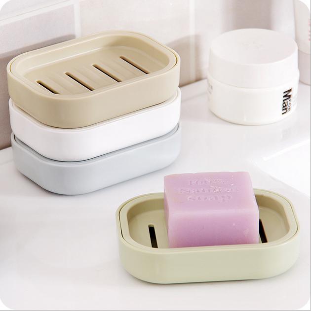 日系清新加厚塑料沥水带盖香皂盒11月28日最新优惠