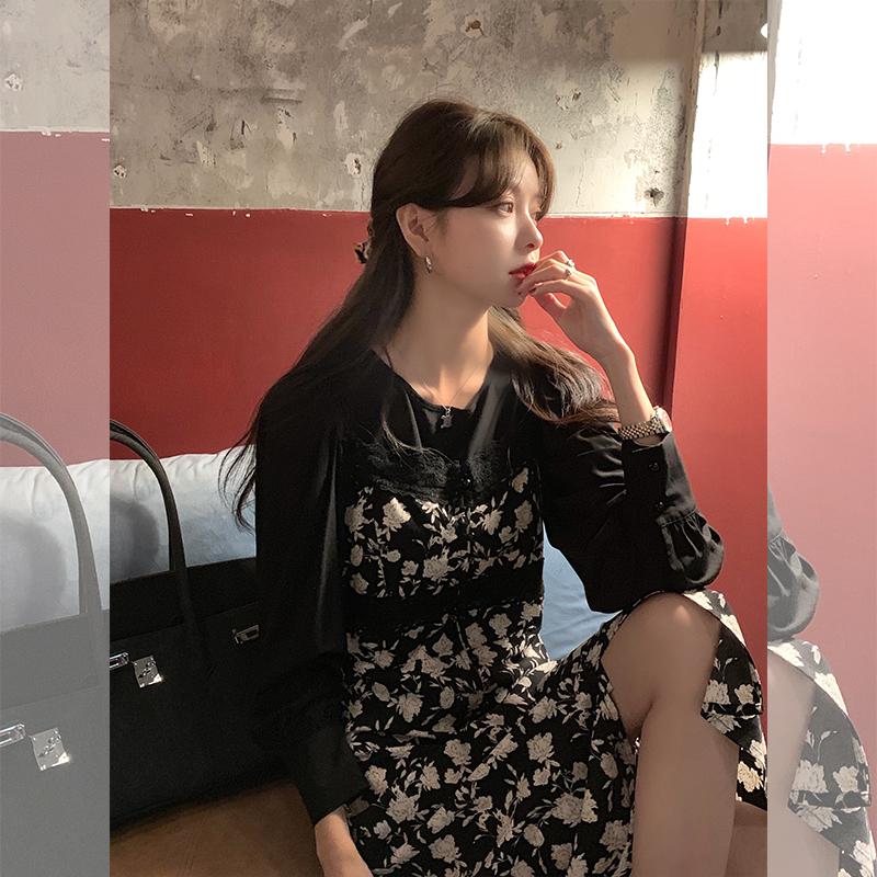 范智乔 黑色碎花连衣裙女秋长款冬裙子套装两件套内搭打底吊带裙