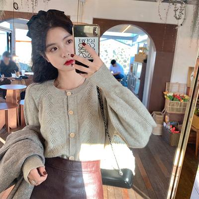 范智乔 圆领缕空针织开衫女长袖秋冬新款韩版显瘦外穿毛衣外套