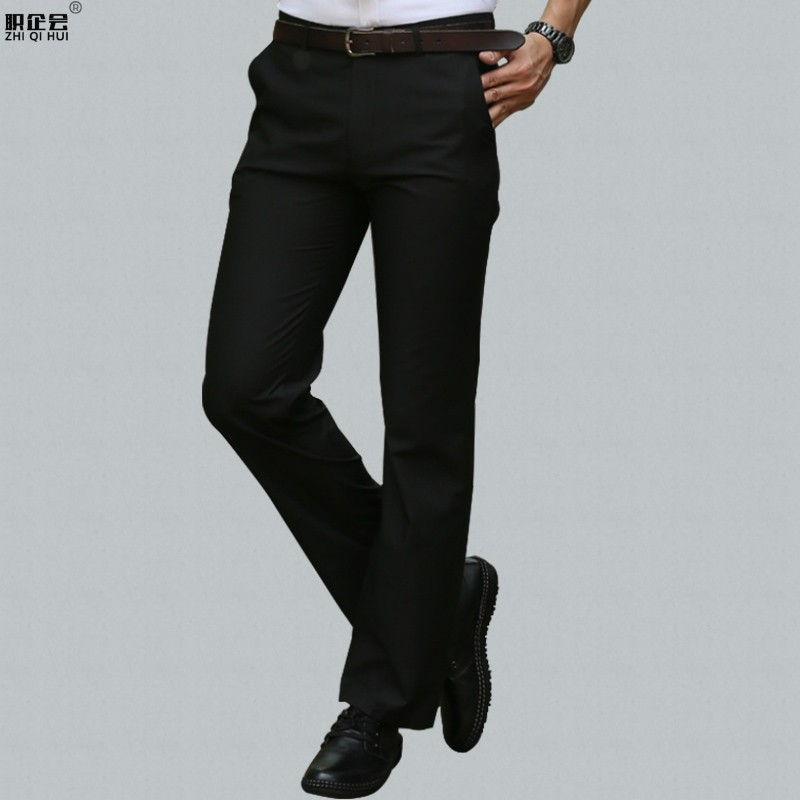 VTEC spring and autumn winter thick trousers mens slim straight tube loose business dress professional work suit pants black