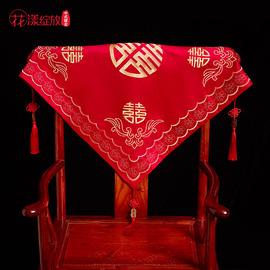 新款红盖头结婚中式秀禾服复古新娘红色头纱挑盖头女回门高档喜帕