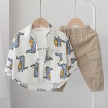 春アウト!子供のシャツの男の子長袖の綿のシャツ春と秋の韓国西洋風の赤ちゃんのTシャツの子供たち