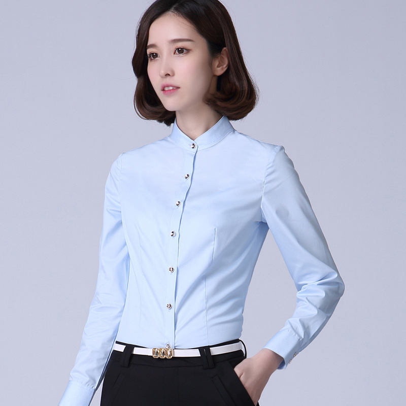 Medium half high collar white shirt long sleeve spring and autumn bottoming shirt top for business wear pure cotton inch shirt large size work clothes