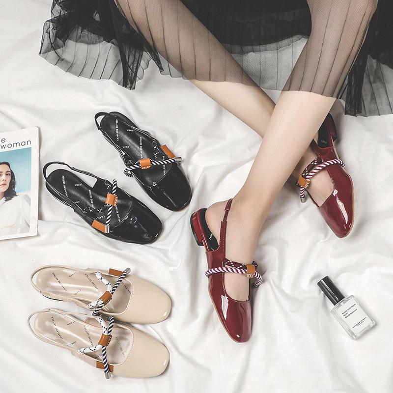 搭配裙子的凉鞋女仙女风百搭平底夏季2019新款温柔仙女晚晚鞋包头