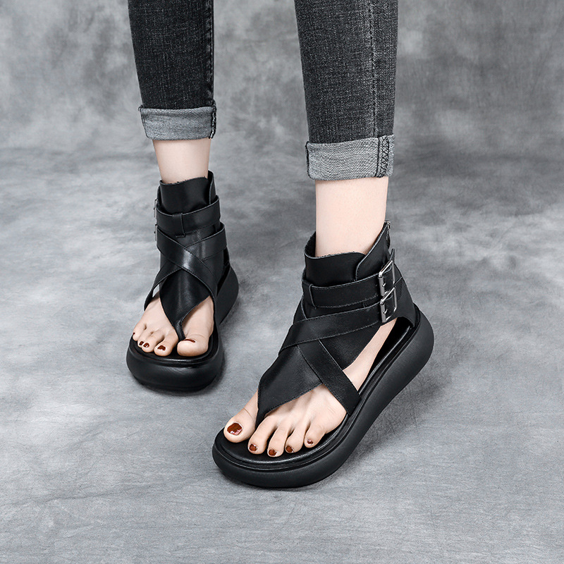 Retro Leather thick soled high top sandals womens 2020 summer new soft leather clip toe sandals belt buckle open toe sandals