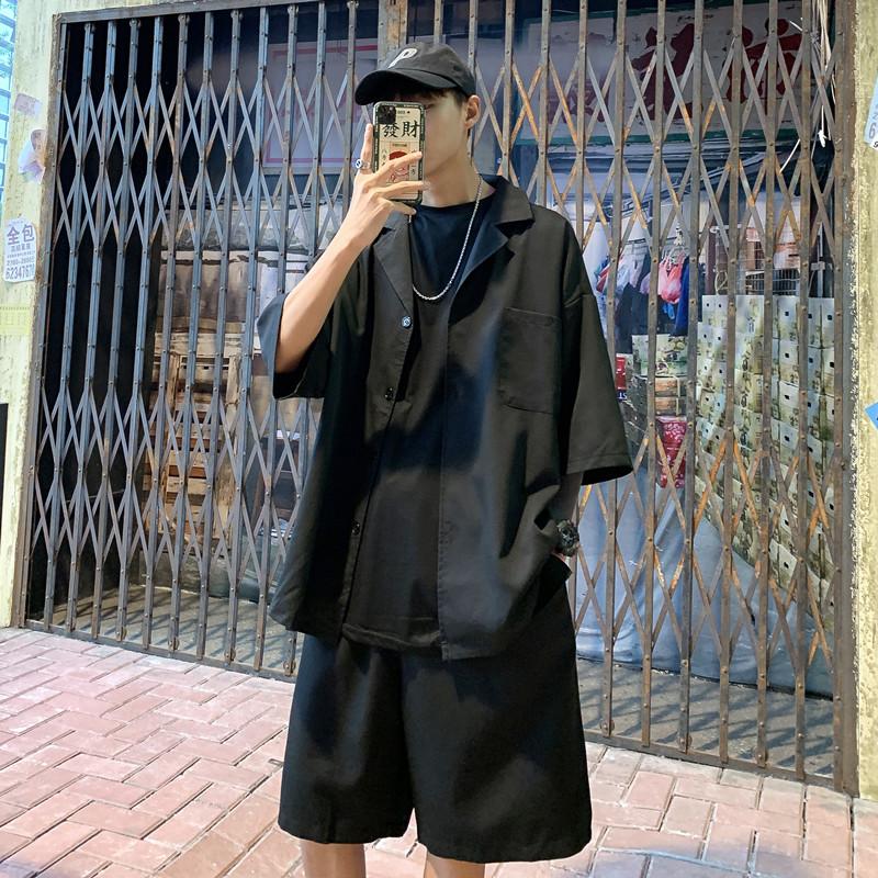 休闲小西装男套装夏季七分袖外套韩版潮流雅痞轻薄款短袖西服