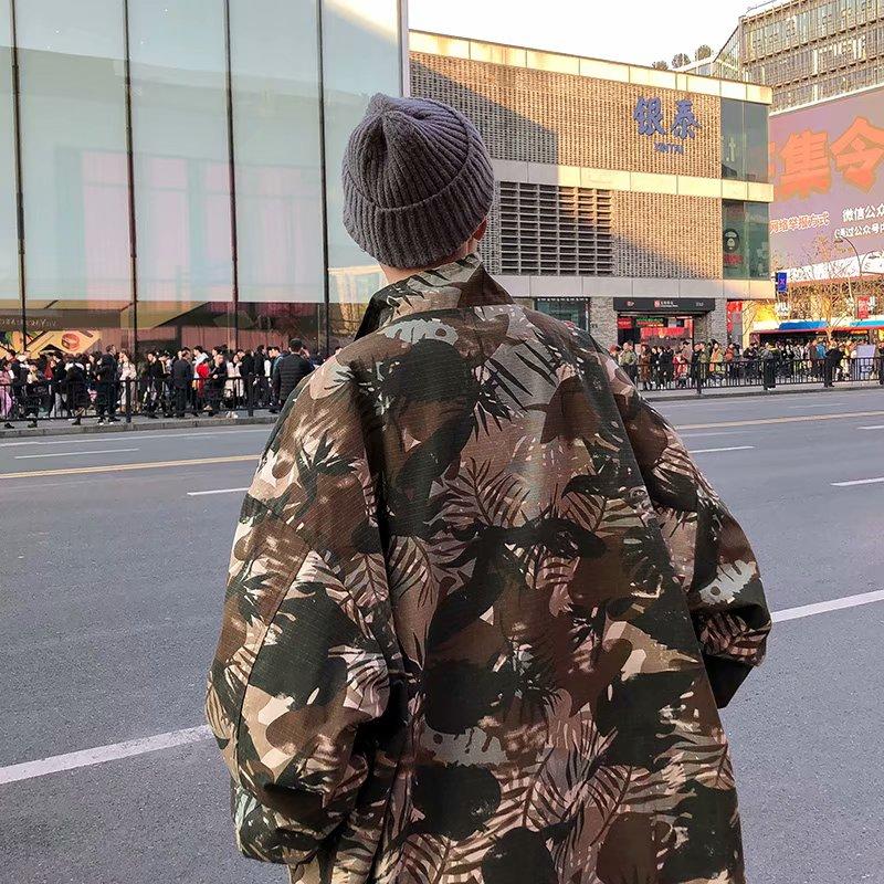 文艺男 字母迷彩外套男ins潮宽松个性韩版夹克休闲帅气复古上衣