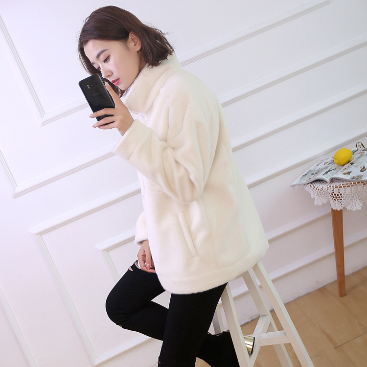Autumn and winter mink like composite suede thickened fur one coat female button short loose fur coat