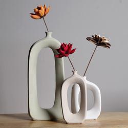 创意北欧ins风陶瓷干花花瓶花器时尚客厅餐桌装饰摆件瓷器工艺品