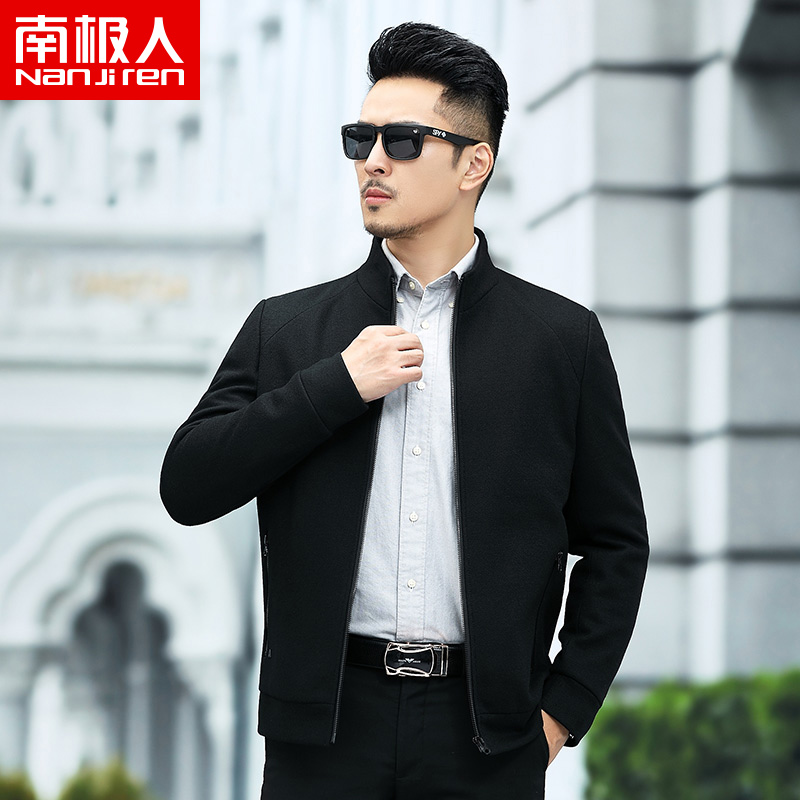 Antarctic mens wool jacket autumn and winter new middle-aged and young Korean stand collar woollen cloth thick coat mens coat