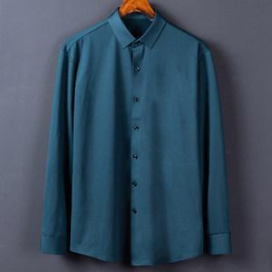 爵诗丹顿秋冬无痕加绒弹力内磨毛薄绒衬衫男长袖纯色修身打底衬衣