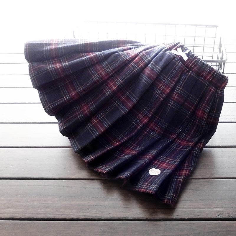女童自留包邮英伦学院风纯棉半身裙