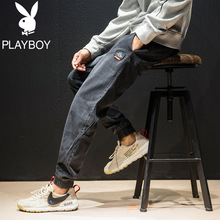 Playboy Jeans Men's Loose Spring and Autumn Men's Korean Edition Fashion Bottom Length Pants Leisure Bottom Pants Autumn