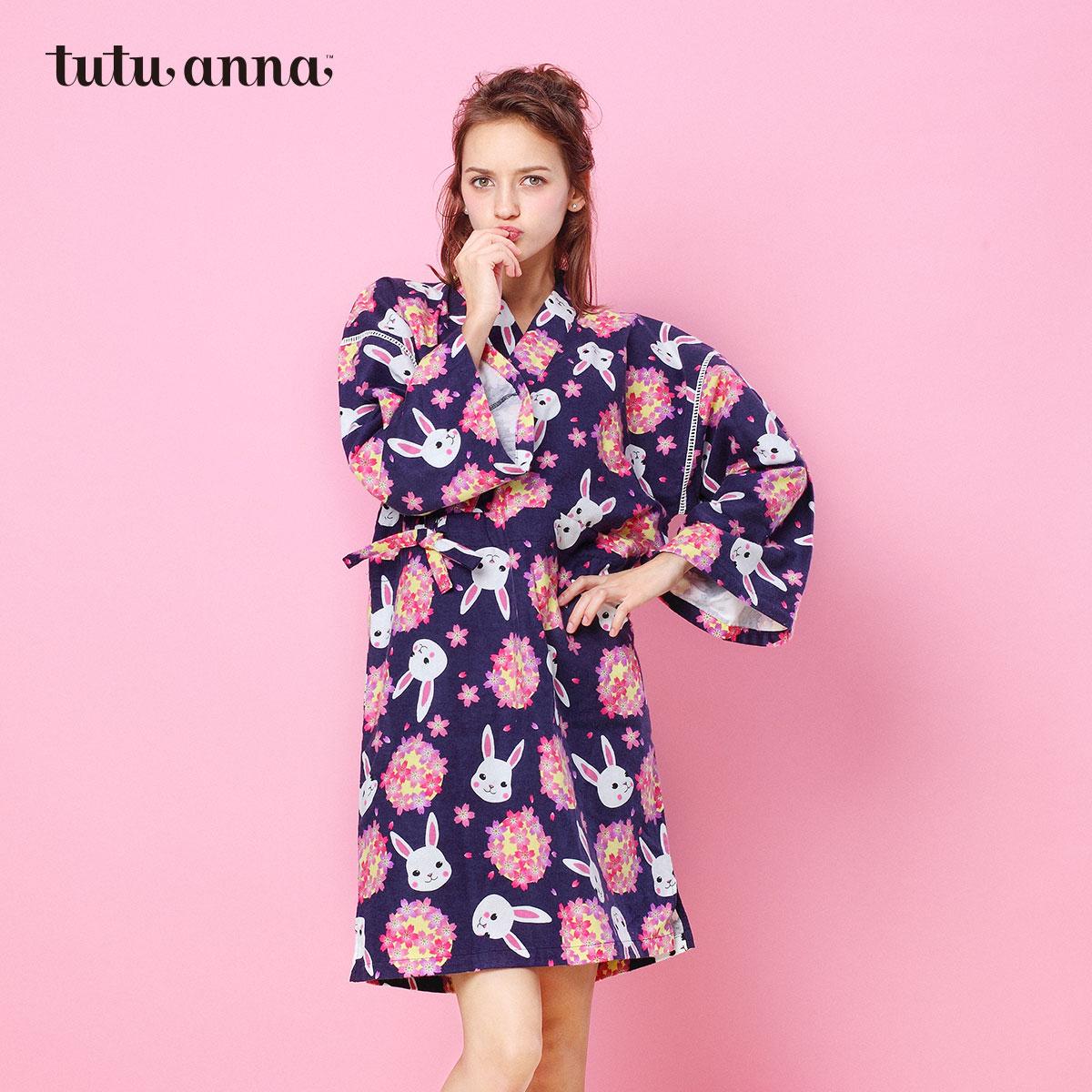 tutuanna睡衣女秋冬套装萌兔和服纯棉睡裙日系长袖可爱家居服秋冬