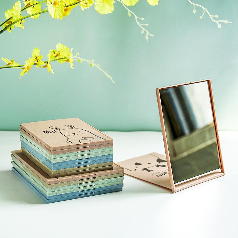 韓版台式摺疊化妝鏡大號梳妝便攜可愛迷你隨身小鏡子宿舍桌面翻蓋
