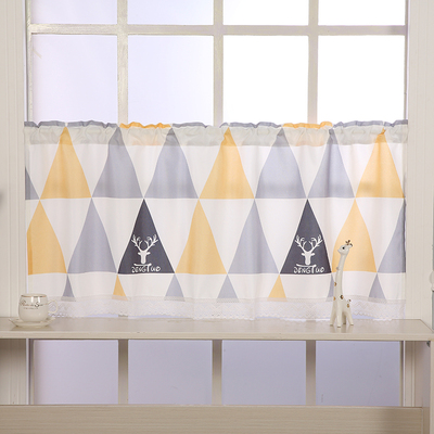 Bathroom small curtains waterproof and oil-proof short curtains kitchen half curtains cabinet curtains Nordic wind free perforated floating curtains