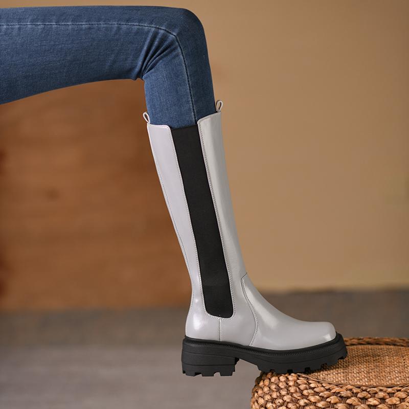真皮骑士长筒靴烟筒靴女2021秋冬新款英伦风厚底不过膝高筒马丁靴