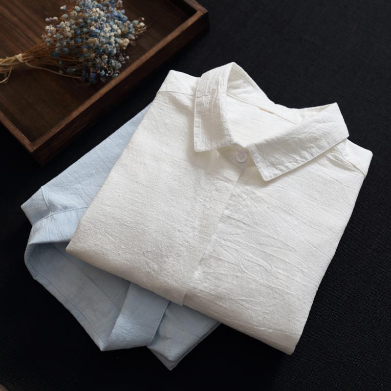 2020春季纯棉长袖女装修身白衬衫