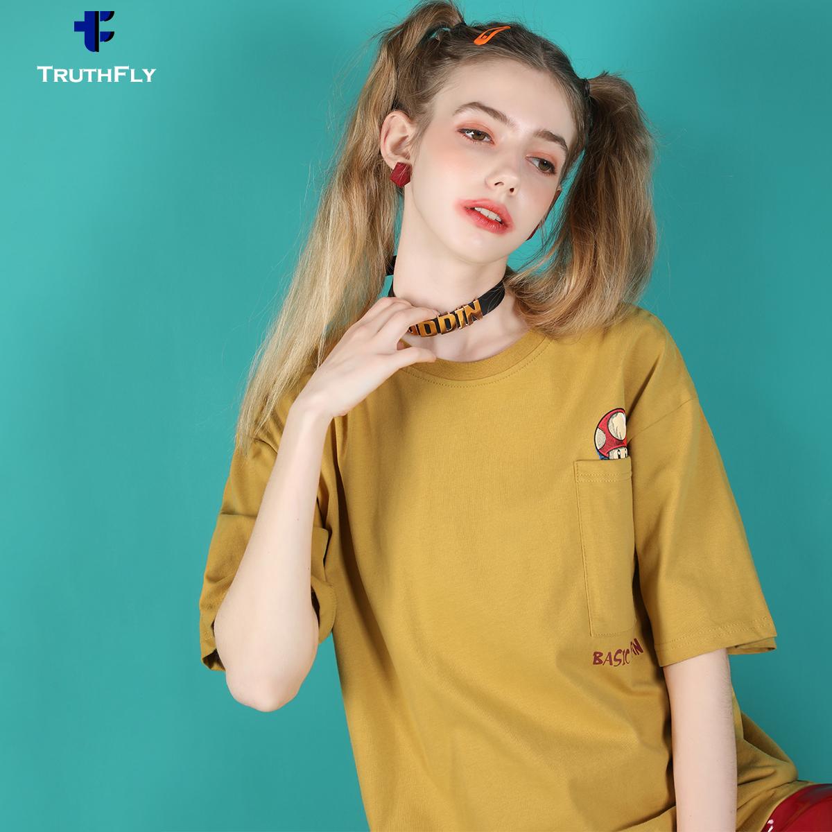 12月09日最新优惠t恤女宽松潮牌日系体恤纯色OVERSIZE口袋欧美学生工装上衣短袖夏