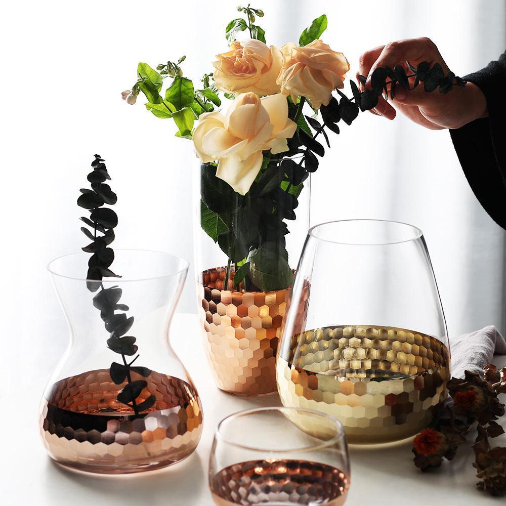 Половина дом континентальный электрический позолоченные мишура стекло ваза характеристика прозрачный цветочная композиция сухие цветы устройство гидропоника бутылка домой декоративный украшение