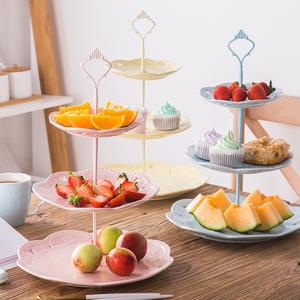 欧式陶瓷三层水果盘蛋糕盘下午茶点心托盘自助餐展示架甜品台摆件