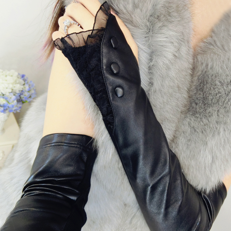 Leather arm sleeve womens autumn and winter long open finger over elbow half finger gloves knitted lace leather sleeve false sleeve