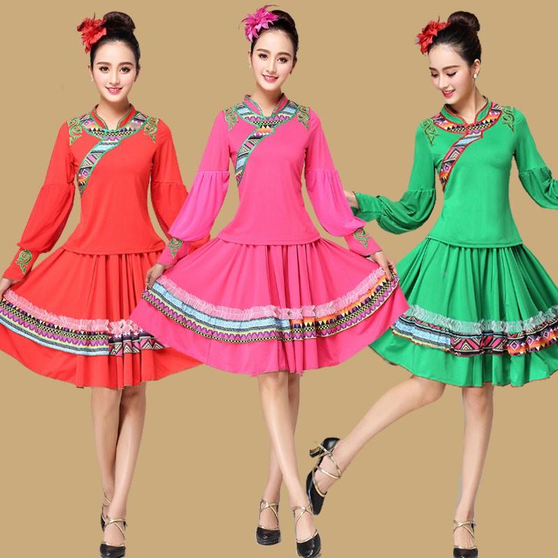 云裳恋衣广场舞蹈服装 套装藏族民族风灯笼长袖上衣藏服裙子新款