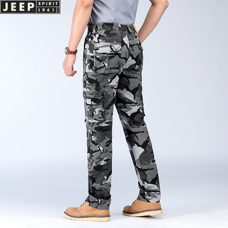 Jeep camouflage pants mens workwear thin Multi Pocket large waist outdoor casual pants fashion 2021 new pants mens