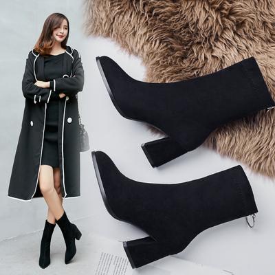 2020秋冬新款粗跟高跟尖头弹力靴马丁靴韩版瘦瘦靴中筒网红短靴女