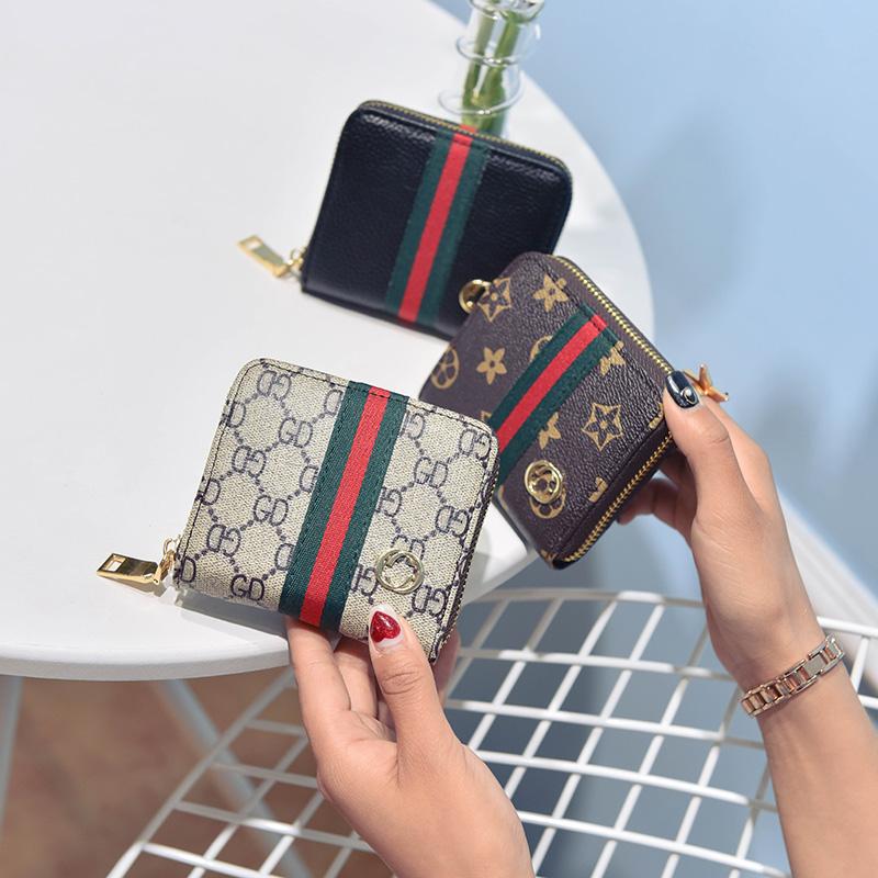2018新款钱包女手拿包卡片包短款拉链钱包女包彩条手包女