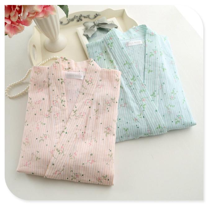 日式浴衣和服睡衣女夏薄款纯棉纱布家居服套装全棉起居服甚平和风