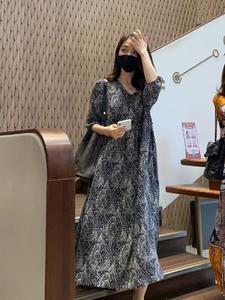 2021早秋装新款高端气质时尚真丝连衣裙春季仙女复古碎花大摆长裙