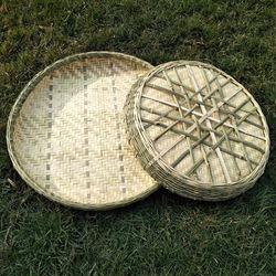 农家手工竹编家用晾晒干货茶叶圆形无孔竹匾簸箕有孔竹筛子米筛