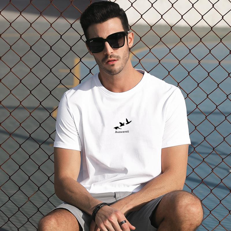 男士夏季短袖t恤2019新款纯棉上衣服宽松潮流半袖ins白丅体恤男装