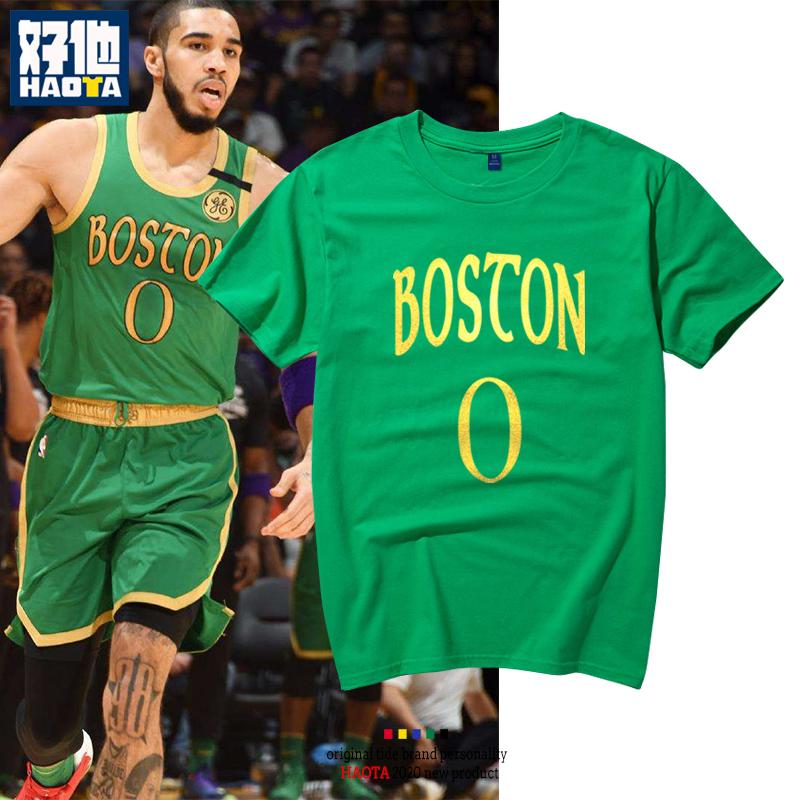 凯尔特人队0号篮球球星塔图姆烫金号码短袖t恤沃克纯棉半袖运动衫