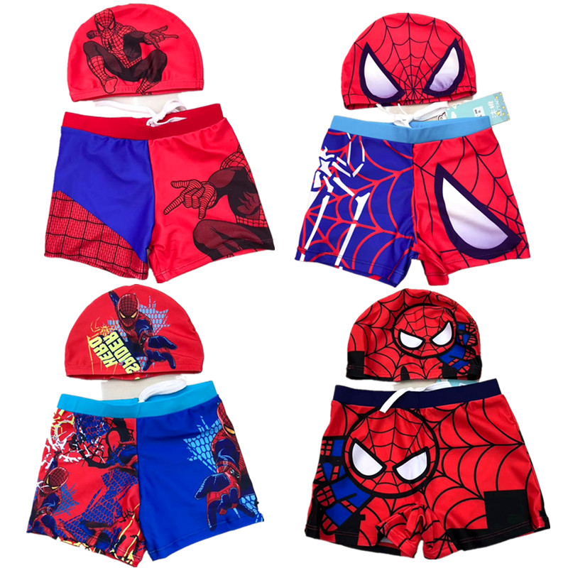 Childrens cartoon swimming trunks boys baby swimsuit swimsuit Spiderman hot spring swimsuit swimming cap set