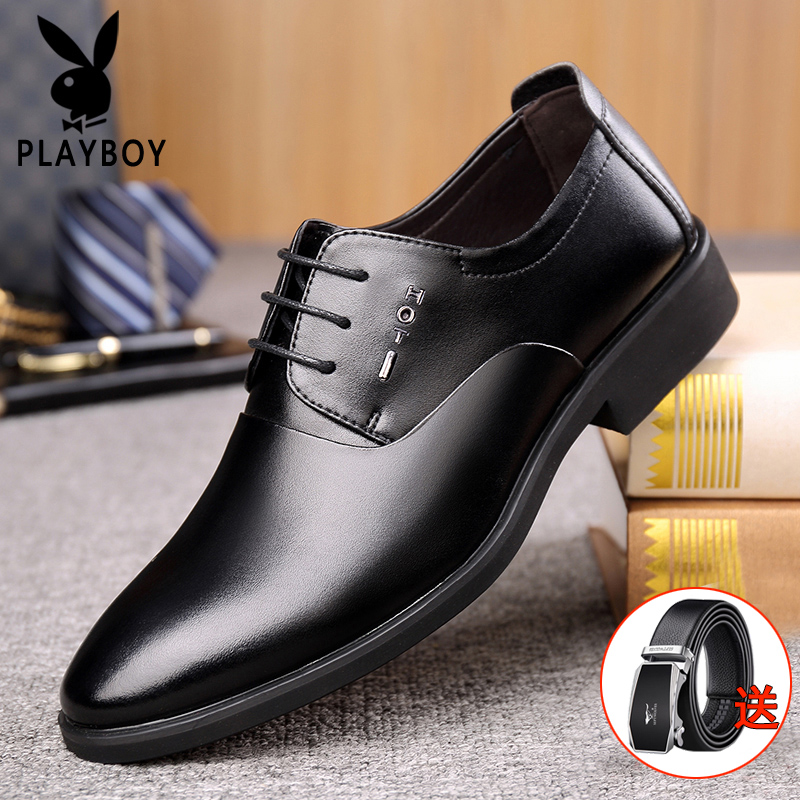 Playboy mens shoes working young mens business dress wedding shoes antiskid casual shoes mens Lightweight
