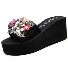 Women's summer sweet flowers, sea muffins, beach slippers, fashionable slope heels, thick bottom sandals