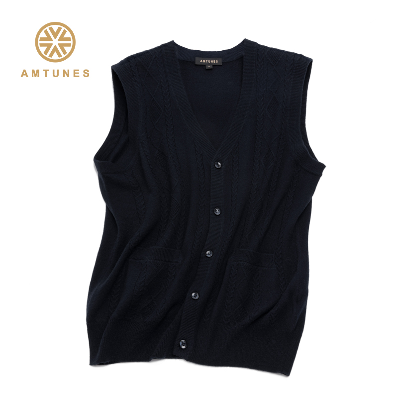 Rhyme song mens cashmere sweater V-neck vest thickened large cardigan sleeveless autumn and winter new sleeveless waistcoat