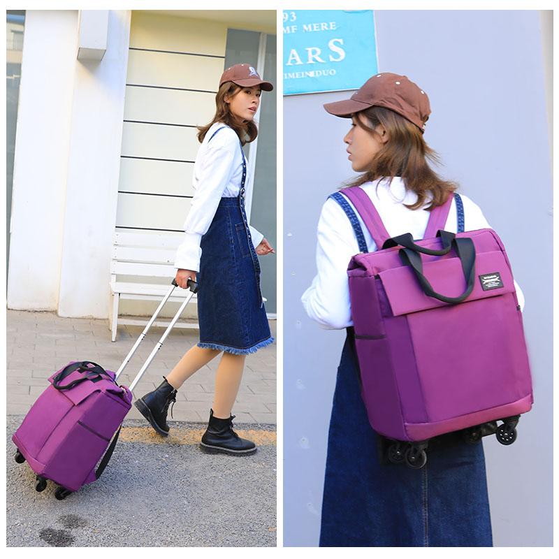 韩版 新品可拉可提可背拉杆包背包万向轮购物袋短途旅行袋 拉杆箱