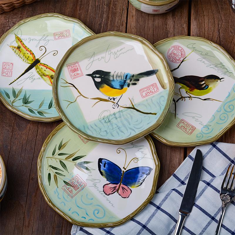 清晨的旋律手绘陶瓷创意家用菜盘果盘子中式酒店圆形彩绘餐具