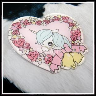 Brooch badges badges Acrylic Heart Shaped no pins stickers Unicorn Jewelry