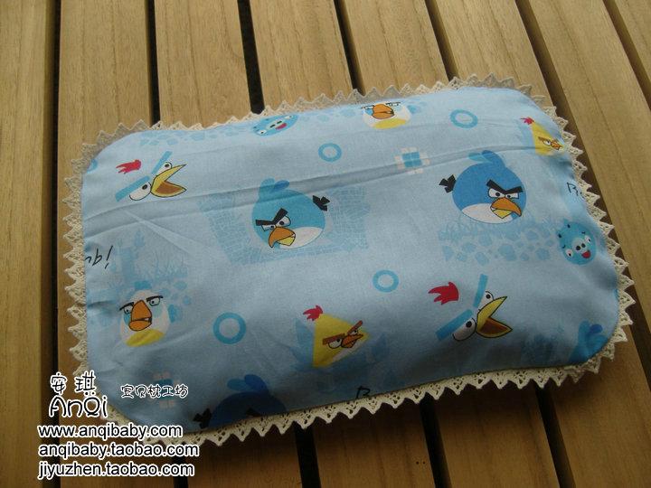 0-1岁新生儿宝宝婴童蚕砂荞麦绿豆皮防偏纠正头型定型枕头蓝小鸟