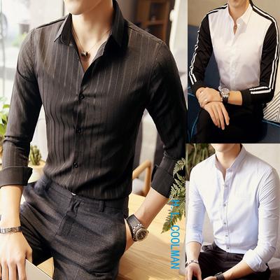 新款四季款英伦韩版休闲日系港风大码长袖衬衫组合A106-1-CS-p55