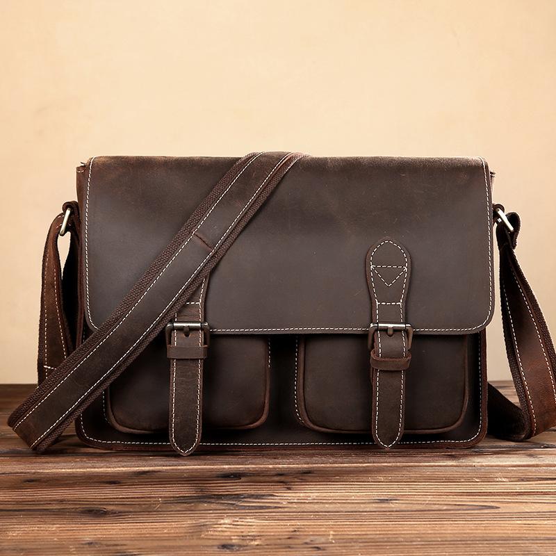 Leather business noble mens leather bag mens crazy horse leather portable briefcase Leather Mens bag Single Shoulder Bag Messenger Bag