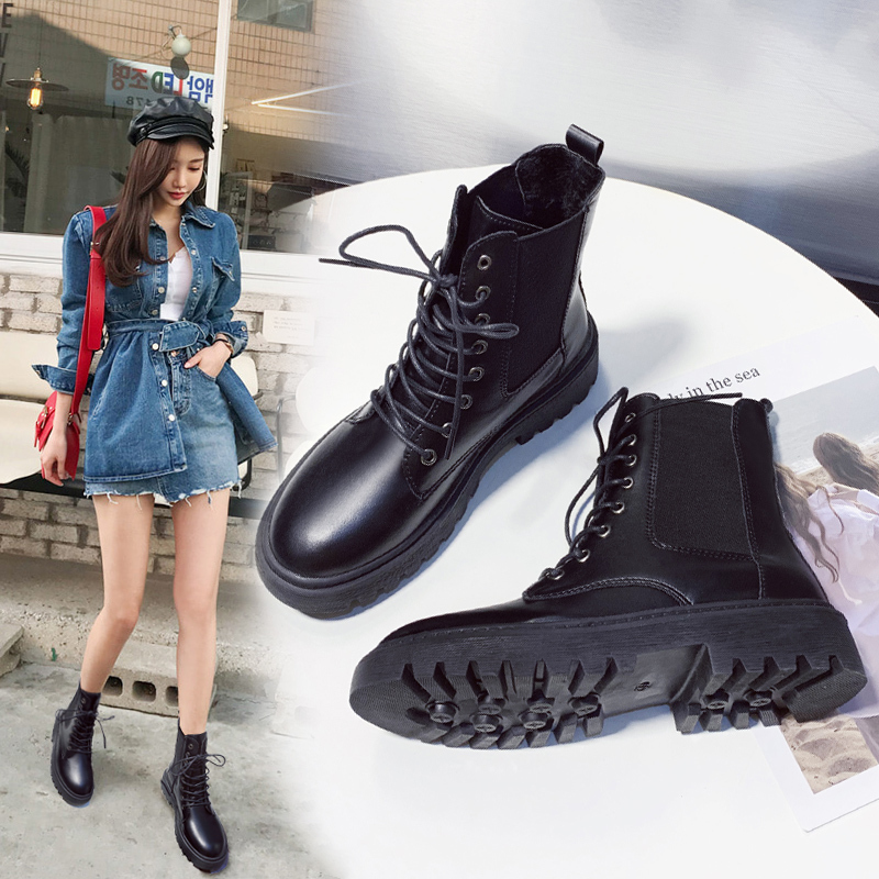 Martin boots, womens autumn and winter 2019 new Korean versatile student boots, British retro plush short boots