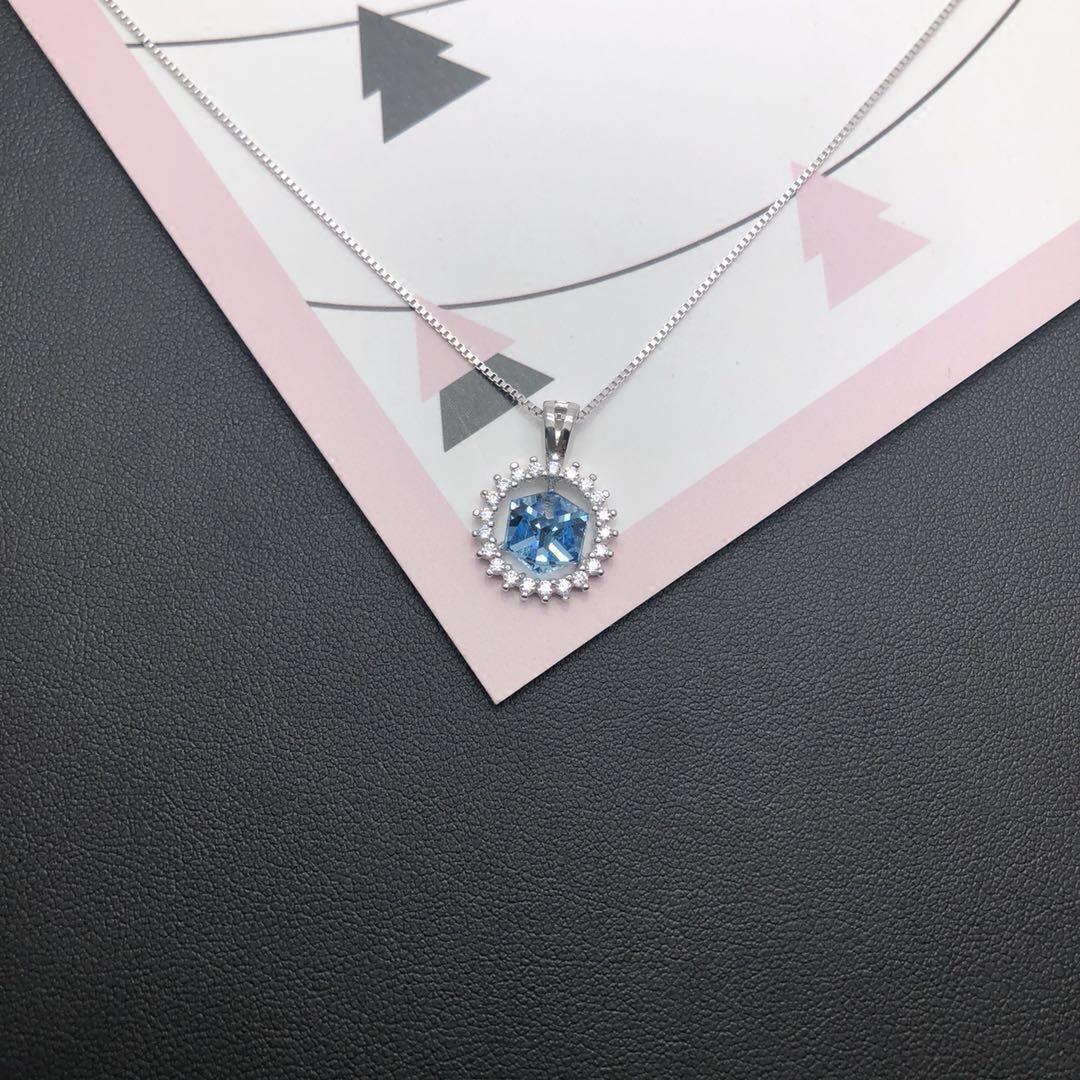 香港 正生 银饰代购 S925纯银 向阳花 蓝水晶 项链