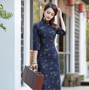 亚麻旗袍秋装七分袖复古文艺修身显瘦改良中长款棉麻旗袍连衣裙